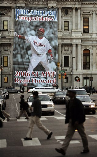 <div class='meta'><div class='origin-logo' data-origin='AP'></div><span class='caption-text' data-credit='AP Photo/Matt Rourke'>A banner honoring Philadelphia Phillies' Ryan Howard is seen on City Hall in Philadelphia, Tuesday, Nov. 21, 2006.</span></div>