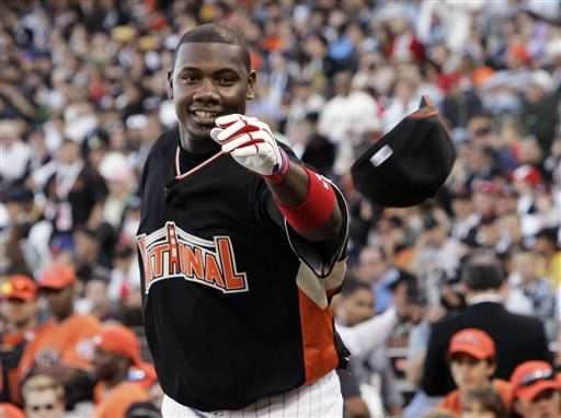 <div class='meta'><div class='origin-logo' data-origin='AP'></div><span class='caption-text' data-credit='AP Photo/ Jeff Chiu'>Defending Home Run Derby champion, Ryan Howard throws his hat to the sidelines during the All-Star Home Run Baseball Derby in San Francisco, Monday, July 9, 2007.</span></div>