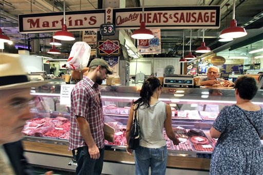<div class='meta'><div class='origin-logo' data-origin='none'></div><span class='caption-text' data-credit='AP'>Customers line up for meat and sausage inside Philadelphia's Reading Terminal Market on Tuesday, July 17, 2007. (AP Photo/George Widman)</span></div>