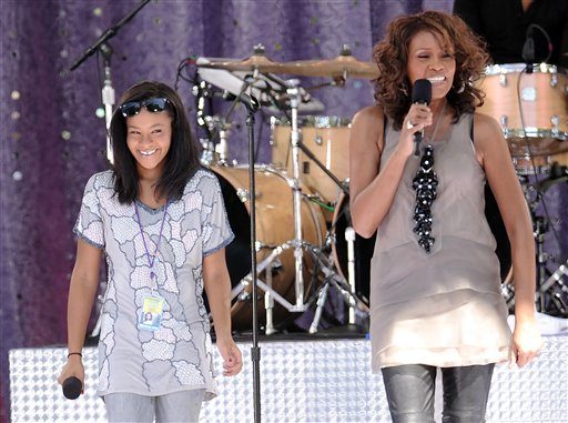 <div class='meta'><div class='origin-logo' data-origin='none'></div><span class='caption-text' data-credit='ASSOCIATED PRESS'>Singer Whitney Houston, right, sings with her daughter Bobbi Kristina Brown during a performance for 'Good Morning America' in Central Park on Tuesday, Sept. 1, 2009 in New York.</span></div>