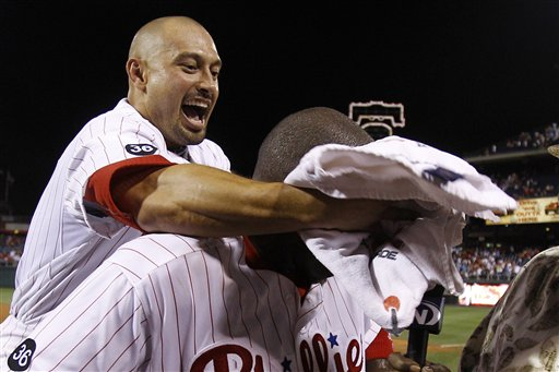 <div class='meta'><div class='origin-logo' data-origin='AP'></div><span class='caption-text' data-credit='AP Photo/Matt Slocum'>Shane Victorino, left, smears teammate Ryan Howard with a shaving cream towel to the face after Howard's game-winning home run in the tenth inning against the Reds, July 9, 2010</span></div>