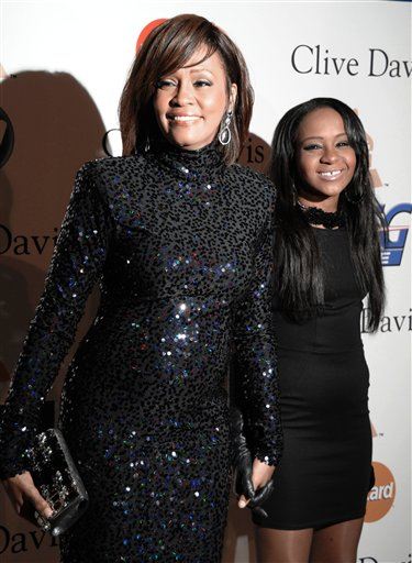 <div class='meta'><div class='origin-logo' data-origin='none'></div><span class='caption-text' data-credit='ASSOCIATED PRESS'>Singer Whitney Houston, left, and daughter Bobbi Kristina Brown arrive at the Pre-Grammy Gala & Salute to Industry Icons on Saturday, Feb. 12, 2011</span></div>
