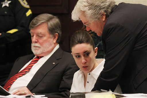 """<div class=""""meta image-caption""""><div class=""""origin-logo origin-image none""""><span>none</span></div><span class=""""caption-text"""">Casey Anthony, center, sits at the defense table with her attorneys Cheney Mason, left, and Anne Finnell, right, before the start of her murder trial. (AP)</span></div>"""