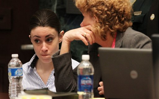 """<div class=""""meta image-caption""""><div class=""""origin-logo origin-image none""""><span>none</span></div><span class=""""caption-text"""">Casey Anthony with her attorney Dorothy Clay Sims on the last day of arguments in Anthony's murder trial at the Orange County Courthouse in Orlando, Fla. on Monday, July 4, 2011. (AP)</span></div>"""