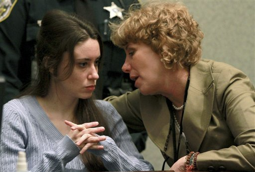 """<div class=""""meta image-caption""""><div class=""""origin-logo origin-image none""""><span>none</span></div><span class=""""caption-text"""">Casey Anthony, left, talks with her attorney, Dorothy Clay Sims, during a sentencing hearing in Orlando, Fla. on Thursday, July 7, 2011. (AP)</span></div>"""