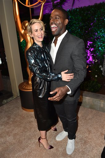 "<div class=""meta image-caption""><div class=""origin-logo origin-image ap""><span>AP</span></div><span class=""caption-text"">Sarah Paulson, left, and Sterling K. Brown hug at the Television Academy's Performers Emmy Celebration at the Montage Beverly Hills on Monday, Aug. 22, 2016. (Invision for the Television Academy)</span></div>"