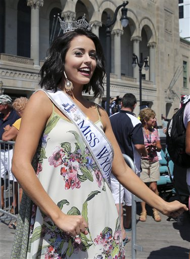 <div class='meta'><div class='origin-logo' data-origin='none'></div><span class='caption-text' data-credit='AP'>Miss Wyoming, Jordyn Hall dances as she is introduced during Miss America Pageant arrival ceremonies Tuesday, Aug. 30, 2016, in Atlantic City.</span></div>