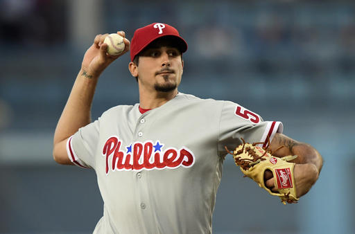"<div class=""meta image-caption""><div class=""origin-logo origin-image ap""><span>AP</span></div><span class=""caption-text"">Philadelphia Phillies starting pitcher Zach Eflin throws to the plate during the first inning of a baseball game against the Los Angeles Dodgers, Monday, Aug. 8, 2016. (AP)</span></div>"