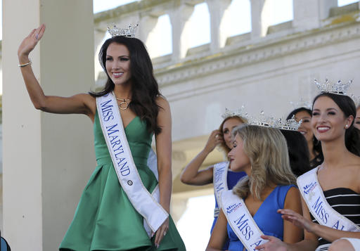 <div class='meta'><div class='origin-logo' data-origin='none'></div><span class='caption-text' data-credit='AP'>Miss Maryland, Hannah Brewer waves as she is introduced during Miss America Pageant arrival ceremonies Tuesday, Aug. 30, 2016, in Atlantic City.</span></div>