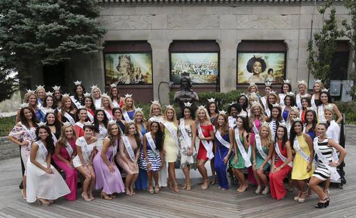 <div class='meta'><div class='origin-logo' data-origin='none'></div><span class='caption-text' data-credit='AP'>The contestants pose for a group photograph during Miss America Pageant arrival ceremonies Tuesday, Aug. 30, 2016, in Atlantic City.</span></div>