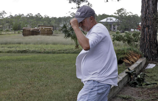 "<div class=""meta image-caption""><div class=""origin-logo origin-image none""><span>none</span></div><span class=""caption-text"">Roy Taylor reacts as he looks out at his storage building that was thrown 100 yards by winds when Hurricane Hermine hit Friday, Sept. 2, 2016, in Dekle Beach, Fla. (AP)</span></div>"