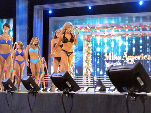 <div class='meta'><div class='origin-logo' data-origin='none'></div><span class='caption-text' data-credit='AP'>Contestants in the swimsuit portion of the Miss America pageant compete on the first night of preliminary competition in Atlantic City, Tuesday, Sept. 6, 2016.</span></div>
