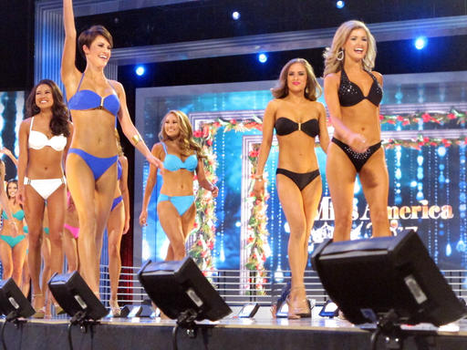 <div class='meta'><div class='origin-logo' data-origin='none'></div><span class='caption-text' data-credit='AP'>Contestants in the swimsuit portion of the Miss America pageant compete on the first night of preliminary competition in Atlantic City, Tuesday Sept. 6, 2016.</span></div>