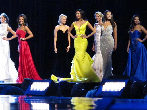 <div class='meta'><div class='origin-logo' data-origin='none'></div><span class='caption-text' data-credit='AP'>Contestants in the evening gown portion of the Miss America pageant compete on the first night of preliminary competition in Atlantic City, Tuesday, Sept. 6, 2016.</span></div>