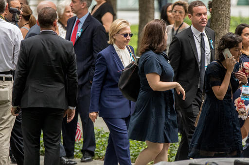 "<div class=""meta image-caption""><div class=""origin-logo origin-image ap""><span>AP</span></div><span class=""caption-text"">Democratic presidential candidate Hillary Clinton arrives to attend a ceremony at the National September 11 Memorial, in New York, Sunday, Sept. 11, 2016. (AP Photo/Andrew Harnik)</span></div>"