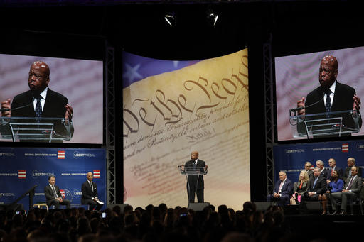"<div class=""meta image-caption""><div class=""origin-logo origin-image ap""><span>AP</span></div><span class=""caption-text"">Rep. John Lewis, D-Ga., speaks after being presented with the Liberty Medal for his dedication to civil rights during a ceremony at the National Constitution Center. (AP Photo/Matt Slocum)</span></div>"