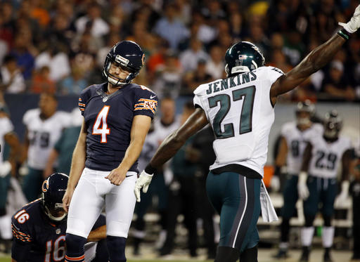 <div class='meta'><div class='origin-logo' data-origin='none'></div><span class='caption-text' data-credit='AP'>Chicago Bears kicker Connor Barth (4) reacts after missing a field goal. At right is Philadelphia Eagles strong safety Malcolm Jenkins (27). (AP Photo/Nam Y. Huh)</span></div>