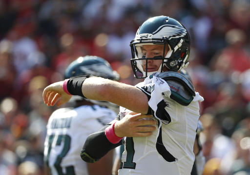 "<div class=""meta image-caption""><div class=""origin-logo origin-image ap""><span>AP</span></div><span class=""caption-text"">Philadelphia Eagles quarterback Carson Wentz tries to fix his jersey after it was torn in the first half of an NFL football game against the Washington Redskins. (AP Photo/Alex Brandon)</span></div>"