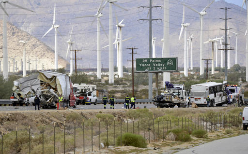 <div class='meta'><div class='origin-logo' data-origin='none'></div><span class='caption-text' data-credit='AP'>The scene after a tour bus crashed with a semi-truck on Interstate 10 in Desert Hot Springs, near Palm Springs, Calif., Sunday, Oct. 23, 2016.</span></div>