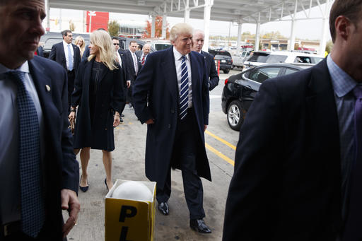 <div class='meta'><div class='origin-logo' data-origin='AP'></div><span class='caption-text' data-credit='AP Photo/ Evan Vucci'>Republican presidential candidate Donald Trump stops at a Wawa gas station, Tuesday, Nov. 1, 2016, in King of Prussia, Pa.</span></div>
