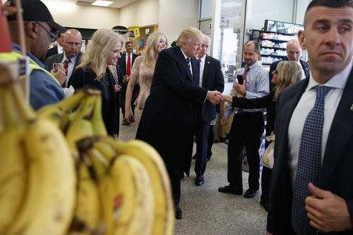 <div class='meta'><div class='origin-logo' data-origin='AP'></div><span class='caption-text' data-credit='AP Photo/ Evan Vucci'>Republican presidential candidate Donald Trump talks with customers during a visit to a Wawa gas station, Tuesday, Nov. 1, 2016, in King of Prussia, Pa.</span></div>