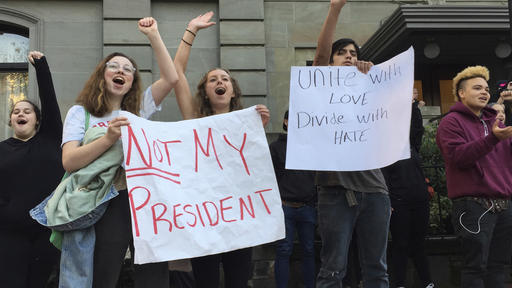 <div class='meta'><div class='origin-logo' data-origin='none'></div><span class='caption-text' data-credit='AP Photo/Gillian Flaccus'>Several dozen students from various high schools in the Portland, Ore., metropolitan area gather downtown to protest Republican nominee Donald Trump's victory.</span></div>