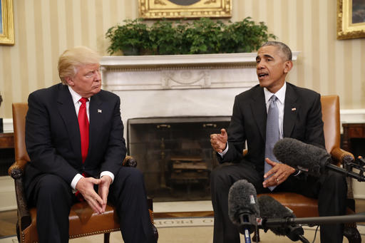 <div class='meta'><div class='origin-logo' data-origin='AP'></div><span class='caption-text' data-credit='AP Photo/Pablo Martinez Monsivais'>President Barack Obama meets with President-elect Donald Trump in the Oval Office of the White House in Washington, Thursday, Nov. 10, 2016.</span></div>