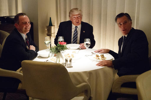 "<div class=""meta image-caption""><div class=""origin-logo origin-image ap""><span>AP</span></div><span class=""caption-text"">President-elect Donald Trump, center, eats dinner with Mitt Romney, right, and Trump Chief of Staff Reince Priebus at Jean-Georges restaurant, Tuesday, Nov. 29, 2016, in New York. (AP Photo/Evan Vucci)</span></div>"