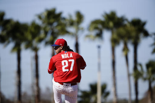 "<div class=""meta image-caption""><div class=""origin-logo origin-image ap""><span>AP</span></div><span class=""caption-text"">Philadelphia Phillies' Aaron Nola during a spring training baseball workout Thursday, Feb. 16, 2017, in Clearwater, Fla. (AP)</span></div>"