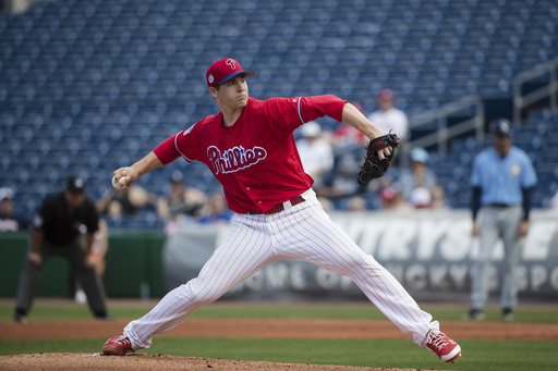 "<div class=""meta image-caption""><div class=""origin-logo origin-image ap""><span>AP</span></div><span class=""caption-text"">Philadelphia Phillies starting pitcher Jerad Eickhoff pitches during a spring training baseball game against the Tampa Bay Rays Monday, Feb. 27, 2017, in Clearwater, Fla. (AP)</span></div>"