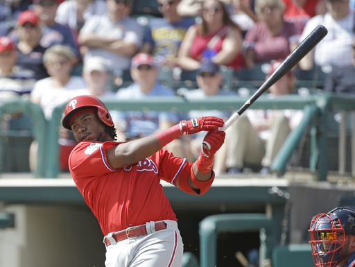 "<div class=""meta image-caption""><div class=""origin-logo origin-image ap""><span>AP</span></div><span class=""caption-text"">Philadelphia Phillies' Maikel Franco bats against the Atlanta Braves in a spring training baseball game, Wednesday, March 8, 2017, in Kissimmee, Fla. (AP)</span></div>"