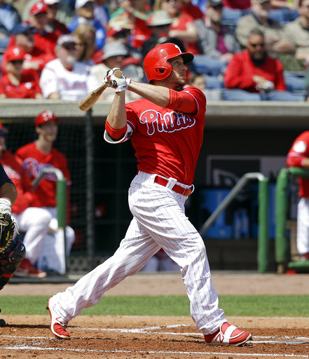 "<div class=""meta image-caption""><div class=""origin-logo origin-image ap""><span>AP</span></div><span class=""caption-text"">Philadelphia Phillies' Daniel Nava hits a double against the Atlanta Braves in the first inning of a spring training baseball game, Tuesday, March 14, 2017, in Clearwater, Fla. (AP)</span></div>"