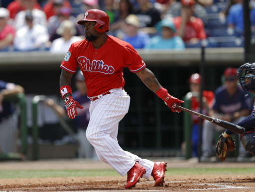"<div class=""meta image-caption""><div class=""origin-logo origin-image ap""><span>AP</span></div><span class=""caption-text"">Philadelphia Phillies' Howie Kendrick doubles against the Minnesota Twins during the first inning of a spring training baseball game Thursday, March 23, 2017, in Clearwater, Fla. (AP)</span></div>"