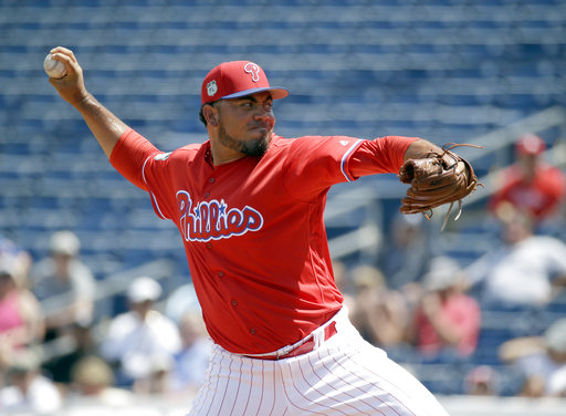 "<div class=""meta image-caption""><div class=""origin-logo origin-image ap""><span>AP</span></div><span class=""caption-text"">Philadelphia Phillies' Joaquin Benoit pitches against the New York Yankees in the third inning of a spring training baseball game, Thursday, March 30, 2017, in Clearwater, Fla. (AP)</span></div>"