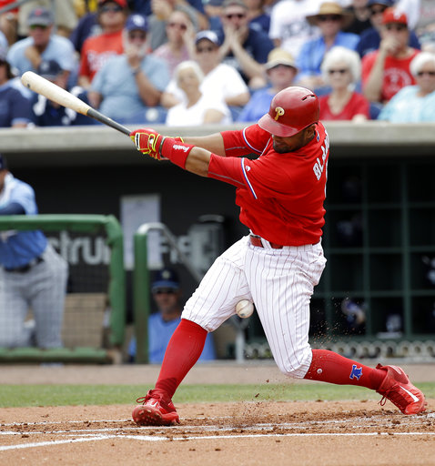 "<div class=""meta image-caption""><div class=""origin-logo origin-image ap""><span>AP</span></div><span class=""caption-text"">Philadelphia Phillies' Andres Blanco fouls a pitch off his leg in the second inning of a spring training baseball game against the Tampa Bay Rays, Friday, March 31, 2017. (AP)</span></div>"