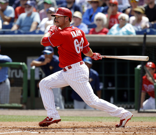 "<div class=""meta image-caption""><div class=""origin-logo origin-image ap""><span>AP</span></div><span class=""caption-text"">Philadelphia Phillies' Andrew Knapp bats against the Tampa Bay Rays in a spring training baseball game, Friday, March 31, 2017, in Clearwater, Fla. (AP)</span></div>"