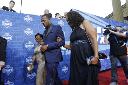 <div class='meta'><div class='origin-logo' data-origin='AP'></div><span class='caption-text' data-credit='AP'>Clemson's Deshaun Watson arrives for the first round of the 2017 NFL football draft, Thursday, April 27, 2017, in Philadelphia. (AP Photo/Julio Cortez)</span></div>