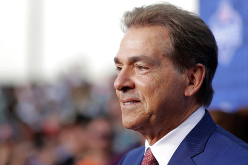 <div class='meta'><div class='origin-logo' data-origin='AP'></div><span class='caption-text' data-credit='AP'>Alabama coach Nick Saban arrives for the first round of the 2017 NFL football draft, Thursday, April 27, 2017, in Philadelphia. (AP Photo/Julio Cortez)</span></div>