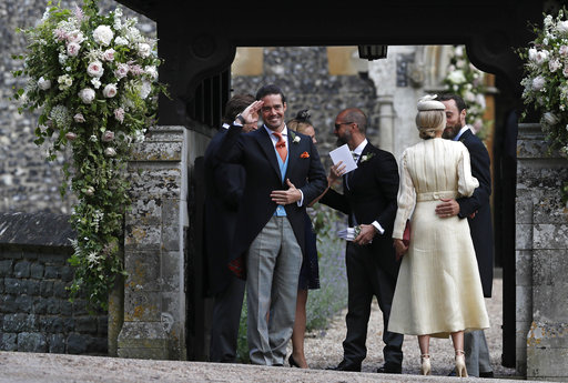 "<div class=""meta image-caption""><div class=""origin-logo origin-image none""><span>none</span></div><span class=""caption-text"">Spencer Matthews, left, gestures as he stands with James Middleton, right, and Donna Air ahead of the wedding of Pippa Middleton and James Matthews, Saturday, May 20, 2017. (AP)</span></div>"