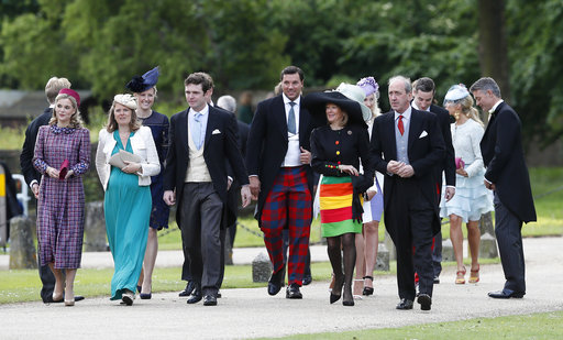 "<div class=""meta image-caption""><div class=""origin-logo origin-image none""><span>none</span></div><span class=""caption-text"">Guests arrive at St Mark's Church in Englefield, England, ahead of the wedding of Pippa Middleton and James Matthews, Saturday, May 20, 2017. (AP)</span></div>"