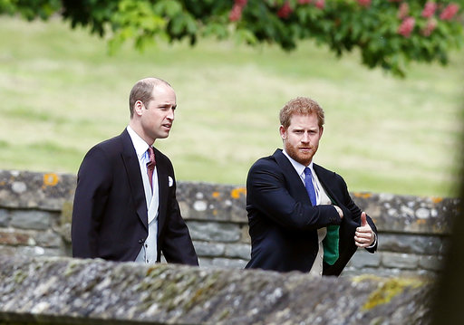 "<div class=""meta image-caption""><div class=""origin-logo origin-image none""><span>none</span></div><span class=""caption-text"">Britain's Prince William, left, and his brother Prince Harry arrive for the wedding of Pippa Middleton and James Matthews at St Mark's Church in Englefield Saturday, May 20, 2017. (AP)</span></div>"