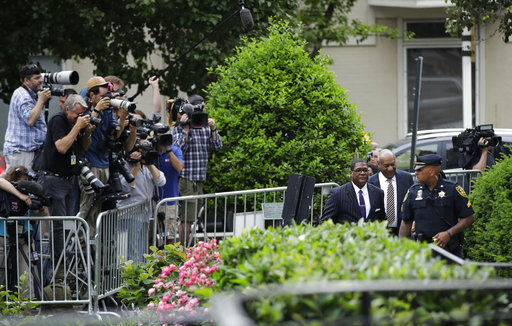 <div class='meta'><div class='origin-logo' data-origin='none'></div><span class='caption-text' data-credit='AP'>Bill Cosby, second from right, arrives for his sexual assault trial at the Montgomery County Courthouse in Norristown, Pa., Monday, June 5, 2017. (AP Photo/Matt Rourke)</span></div>