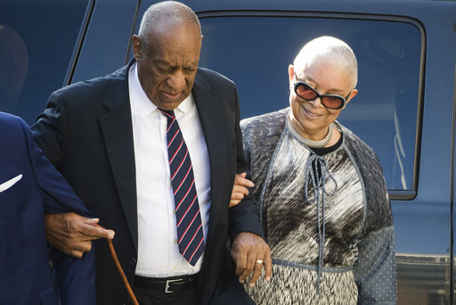 <div class='meta'><div class='origin-logo' data-origin='none'></div><span class='caption-text' data-credit='AP'>Bill Cosby arrives for his sexual assault trial with his wife Camille Cosby at the Montgomery County Courthouse in Norristown, Pa., Monday, June 12, 2017. (AP Photo/Matt Rourke)</span></div>