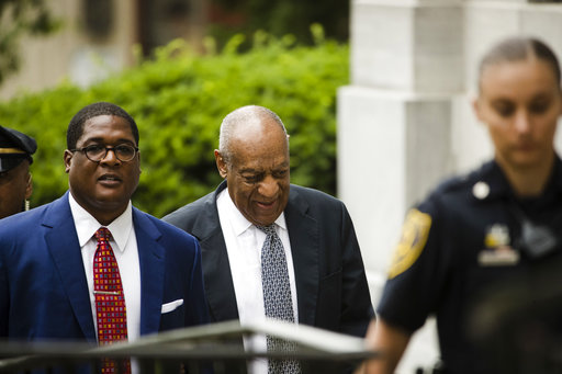 <div class='meta'><div class='origin-logo' data-origin='AP'></div><span class='caption-text' data-credit='(AP Photo/Matt Rourke)'>Bill Cosby, center, accompanied by Andrew Wyatt, left, arrives for his sexual assault trial at the Montgomery County Courthouse in Norristown, Pa., Friday, June 16, 2017.</span></div>