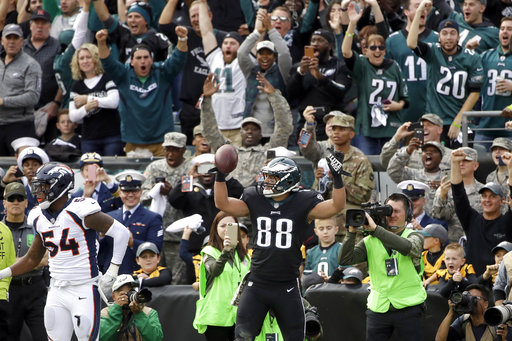 <div class='meta'><div class='origin-logo' data-origin='AP'></div><span class='caption-text' data-credit='AP Photo/Matt Rourke'>Philadelphia Eagles' Trey Burton (88) celebrates after scoring a touchdown past Denver Broncos' Brandon Marshall (54) during the first half of an NFL football game on Nov. 5, 2017</span></div>