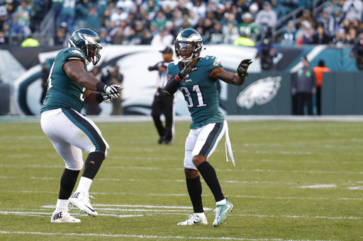 <div class='meta'><div class='origin-logo' data-origin='AP'></div><span class='caption-text' data-credit='AP Photo/Chris Szagola'>Philadelphia Eagles' Jalen Mills, right, and Fletcher Cox celebrate after a sack during the second half of an NFL football game against the Chicago Bears, Sunday, Nov. 26, 2017.</span></div>