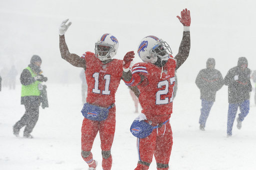 """<div class=""""meta image-caption""""><div class=""""origin-logo origin-image ap""""><span>AP</span></div><span class=""""caption-text"""">Buffalo Bills' Tre'Davious White, right, and Zay Jones warm-up before an NFL football game between the Buffalo Bills and the Indianapolis Colts, Sunday, Dec. 10, 2017. (AP Photo/Adrian Kraus)</span></div>"""