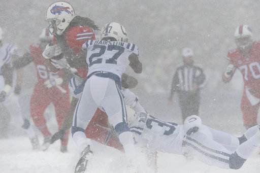 """<div class=""""meta image-caption""""><div class=""""origin-logo origin-image ap""""><span>AP</span></div><span class=""""caption-text"""">Buffalo Bills' Kelvin Benjamin makes a catch during the first half of an NFL football game against the Indianapolis Colts, Sunday, Dec. 10, 2017, in Orchard Park, N.Y. (AP Photo/Adrian Kraus)</span></div>"""