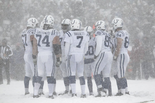 """<div class=""""meta image-caption""""><div class=""""origin-logo origin-image ap""""><span>AP</span></div><span class=""""caption-text"""">The Indianapolis Colts huddle during the first half of an NFL football game against the Buffalo Bills, Sunday, Dec. 10, 2017, in Orchard Park, N.Y. (AP Photo/Jeffrey T. Barnes)</span></div>"""