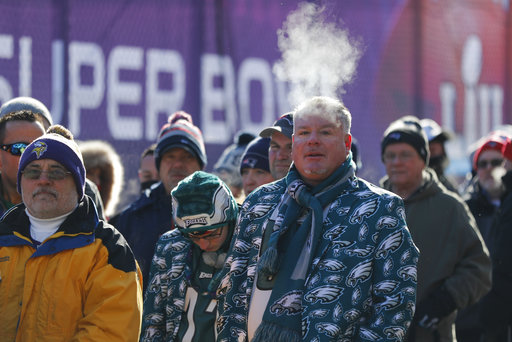 <div class='meta'><div class='origin-logo' data-origin='none'></div><span class='caption-text' data-credit='AP'>Fans brave cold temperatures as they wait to get into U.S. Bank Stadium before Super Bowl LII Sunday, Feb. 4, 2018, in Minneapolis. (AP Photo/Jeff Roberson)</span></div>